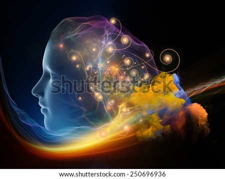 Next Generation AI series. Background composition of  fusion of human head and fractal shape to complement your layouts on the subject of mind, consciousness and spirituality - stock photo