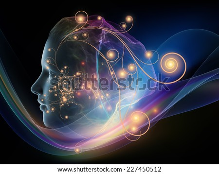 Next Generation AI series. Creative arrangement of fusion of human head and fractal shape as a concept metaphor on subject of mind, consciousness and spirituality - stock photo