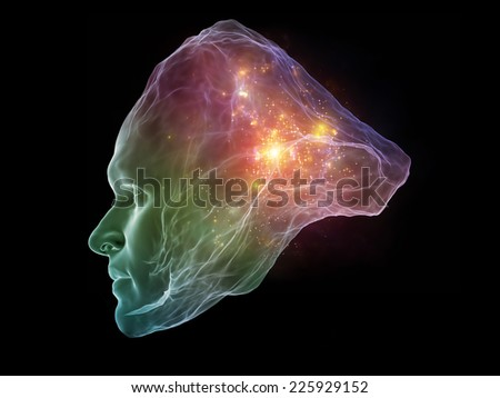 Next Generation AI series. Design composed of fusion of human head and fractal shape as a metaphor on the subject of mind, consciousness and spirituality
