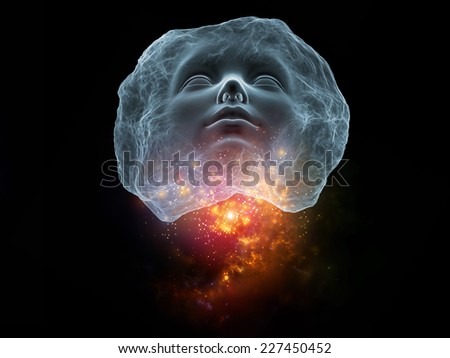 Next Generation AI series. Interplay of fusion of human head and fractal shape on the subject of mind, consciousness and spirituality