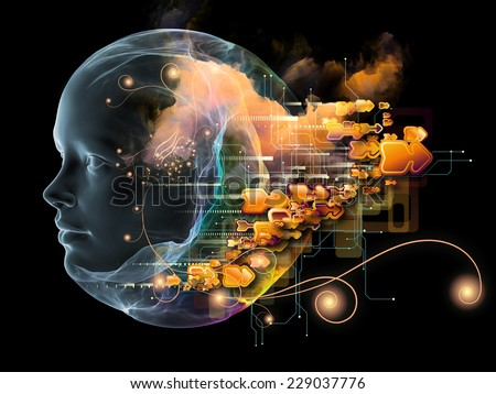 Next Generation AI series. Interplay of fusion of human head and fractal shape on the subject of mind, consciousness and spirituality - stock photo