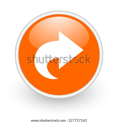 next orange circle glossy web icon on white background - stock photo