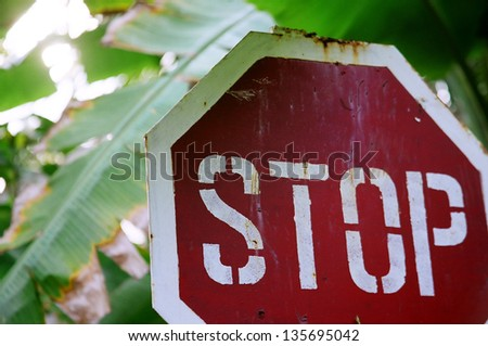 next to railway crossroad in Sri-Lanka. - stock photo