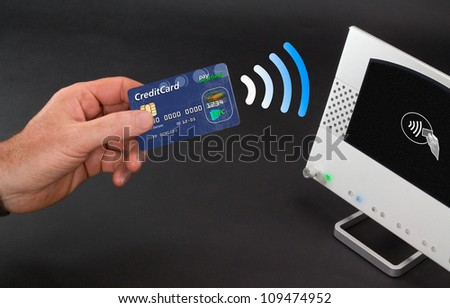 NFC - Near field communication / mobile payments - stock photo