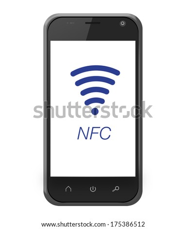 NFC near field communication on smartphone in iphone style for mobile payment - stock photo