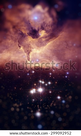 NGC 6357 (Lobster Nebula) is a diffuse nebula in the constellation Scorpius. The nebula contains many proto-stars. Retouched image with small DOF. Elements of this image furnished by NASA. - stock photo