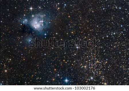 NGC 7129 - NGC 7142 - IC 5134 - stock photo
