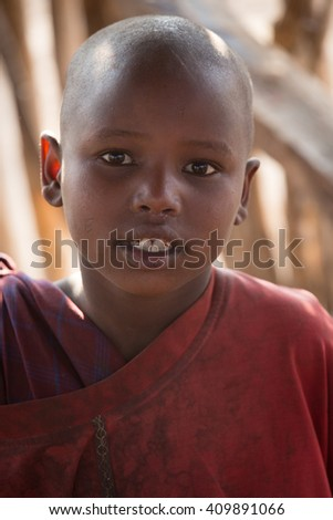 NgoroNgoro,Tanzania - JULY 21, 2014: child at school from Masai tribe in a local village in Tanzania