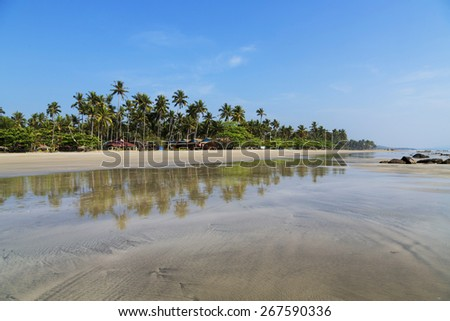 Ngwe Saung Beach sunset, west coast of Myanmar - stock photo