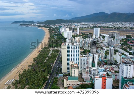 Nha Trang, Vietnam - AUGUST 7, 2016: The south part of Nha Trang city - one of the most popular tourist destinations in Vietnam