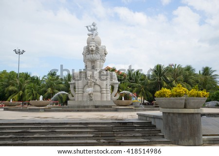 "NHA TRANG, VIETNAM - JANUARY 01, 2016: Fountain ""Elephant"" a cloudy day"
