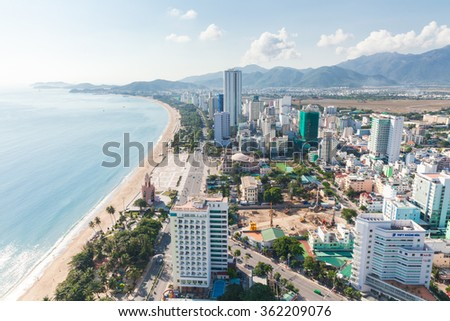 Nha Trang, Vietnam - January 5, 2016: Panoramic daytime view of Nha Trang city, popular tourist destination in Vietnam on January 05, 2016 in Nha Trang, Vietnam.