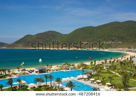Nha Trang, Vietnam - May 14 2016 : Five star Vinpearl resort view at Nha Trang, Vietnam. Nha Trang is a popular destination for international tourists with beachs and resorts
