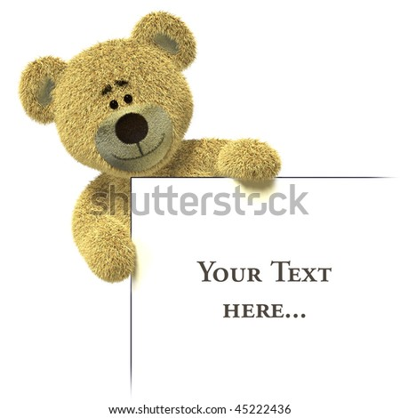 Nhi Bear holding an empty white billboard on the left edge. - stock photo