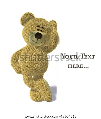 Nhi Bear leans on an empty white billboard. - stock photo