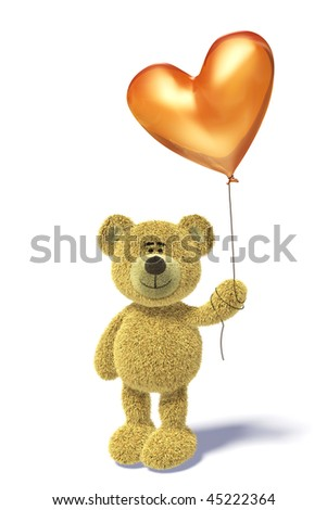 Nhi Bear standing with a heartshaped balloon. - stock photo