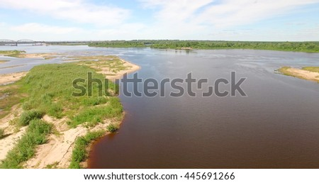 NI ZHNY NOVGOROD, RUSSIA - JUNE 30, 2016: Artificial islands and river Volga in the neighborhood against Meschera, Nizhny Novgorod