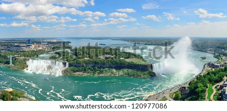 Niagara Falls aerial view panorama with blue sky and cloud - stock photo