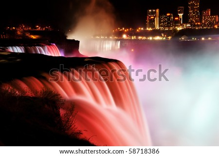 Niagara Falls at night (view from american side) - stock photo
