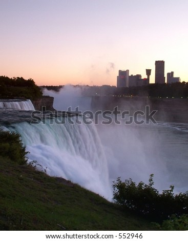 Niagara Falls at sunset.