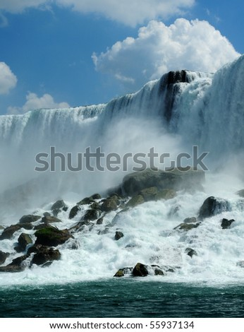 Niagara falls background in a sunny day