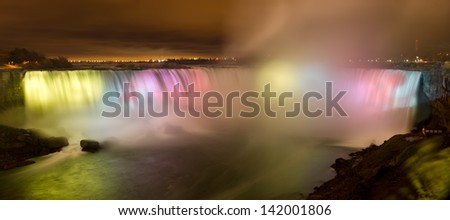 Niagara Falls Canada at night - stock photo