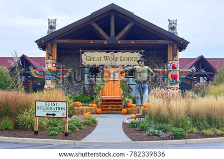 Niagara Falls, Canada - October 08, 2017: Sign of Great Wolf Lodge in the entrance of resort.