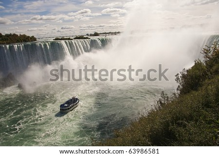 Niagara falls from Canada to the U.S. - stock photo