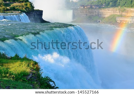 Niagara Falls in the morning with rainbow - stock photo
