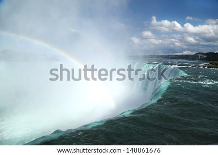 Niagara Falls Landscape and Rainbow  - stock photo