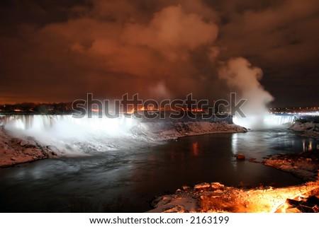 Niagara Falls Landscape at Night During Winter - stock photo