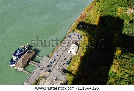 Niagara Falls Maid of the Mist Aerial View, USA - stock photo
