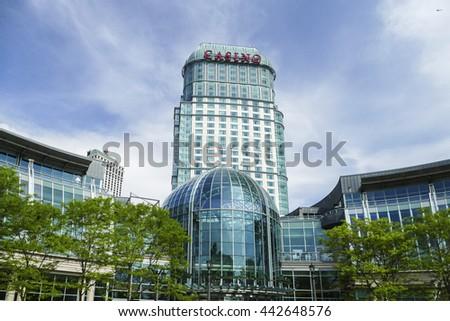 NIAGARA FALLS - MAY 29: Casino building seen on Canadian side in Niagara Falls on May 29, 2016 in Niagara Falls, Canada. - stock photo