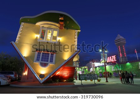 NIAGARA FALLS, ON - SEPTEMBER 19: Newest attraction at Niagara Falls is the Upside Down House sitting at the heart of famous Clifton Hill. September 19, 2015 in Niagara Falls, Canada.