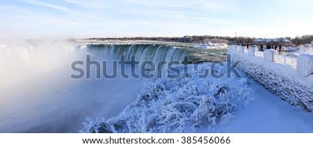 Niagara Falls on the border Ontario river between the USA and Canada Ontario in winter time - stock photo