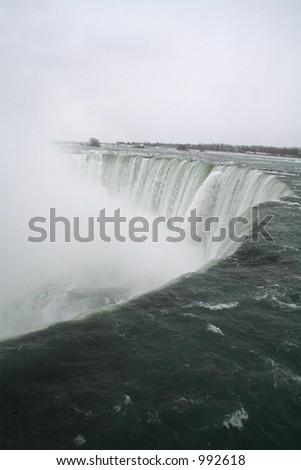 Niagara Falls Over the Edge - stock photo