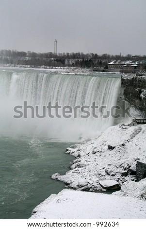 Niagara Falls Snowy View - stock photo