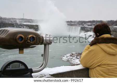 Niagara Falls - Tourist Gazing - stock photo