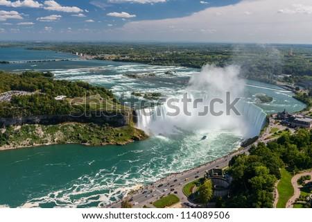 Niagara Falls view from Skylon Tower platform - stock photo
