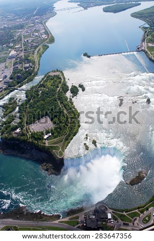 Niagara Horseshoe Falls above view from Helicopter - stock photo