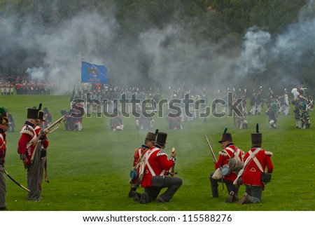 NIAGARA, ON - OCT 13, 2012: Re-enactment of the Battle of Queenston Heights as part of the Bicentennial of the War of 1812 on October 13, 2012. - stock photo
