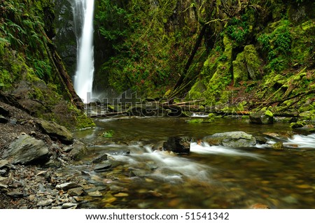 Niagara waterfall and creek in rain forest, goldstream provincial park, victoria, bc, canada