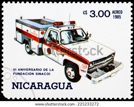 NICARAGUA - CIRCA 1985: a stamp printed in Nicaragua shows ambulance truck,series, circa 1985