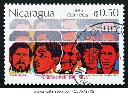 NICARAGUA - CIRCA 1983: a stamp printed in Nicaragua shows Founders of FSLN, Sandinista Party, circa 1983