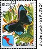 "NICARAGUA - CIRCA 1982: A Stamp printed in NICARAGUA shows image of a Butterfly with the description ""Eunica alcmena"", series, circa 1982 - stock photo"