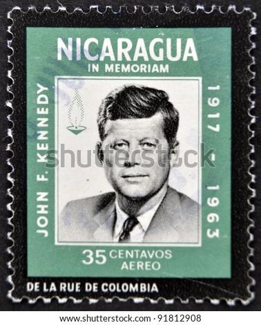 NICARAGUA - CIRCA 1963: A stamp printed in Nicaragua shows John F. Kennedy, circa 1963 - stock photo
