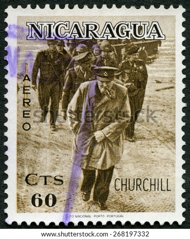 NICARAGUA - CIRCA 1966: A stamp printed in Nicaragua shows Sir Winston Churchill (1874-1965), On military inspection as young officer, circa 1966 - stock photo