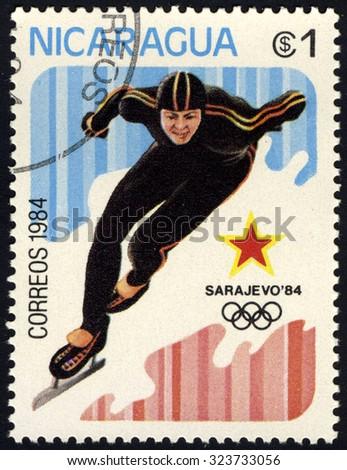 NICARAGUA - CIRCA 1984: A stamp printed in Nicaragua shows speed skating, circa 1984 - stock photo