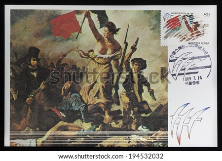 NICARAGUA - CIRCA 1989: An Old maximum card and stamp of Liberty Guiding the People printed in Korea. Detail of Painting by Eugene Delacroix, French Revolution, Bicentennial, circa 1989 - stock photo