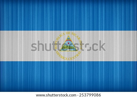 Nicaragua flag pattern on the fabric curtain,vintage style - stock photo